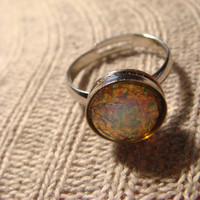 Fire Opal Antique Silver Ring Adjustable 434 by CreepyCreationz
