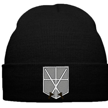 ATTACK ON TITAN, SHINGEKI NO KYOJIN, SNK, MILITARY POLICE BEANIE, WINTER HAT, EMBLEM, LOGO, CROSSED SWARDS