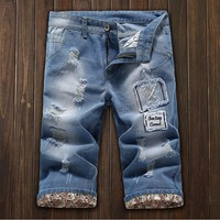 Summer Ripped Holes Fashion Pants Jeans [10605324867]