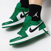 inseva AJ 1 Nike Air Jordan 1 Fashionable Women Men Casual Sport Running Shoes Sneakers White&Green