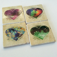 Heart Coasters - Colorful Hearts - Natural Stone Tiles - Home Decor - Hostess Gift - Set of  4