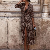 Winter Autumn Womens Dress Leopard Print Maxi Dresses Ladies Holiday Long Sleeve Fashion Dress Vestidos Verano Dress designer clothes