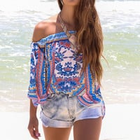 Pretty Parasol Off The Shoulder Print Top