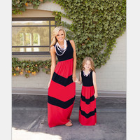 family look mother daughter dresses maxi stripe family matching clothes