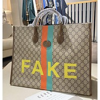 Gucci   Ladies Casual Fashion Double G FAKE Printed Canvas Classic One Shoulder Handbag Shopping Bag