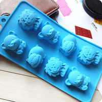 Cute Lion Hippo Bear Silicone Cake Mold Handmade Mold Chocolate Mould Ice tray cube pudding mould handmade soap mold Baking tools