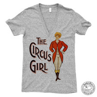 Unisex THE CIRCUS GIRL American Apparel Deep V-Neck Tri-Blend Tee