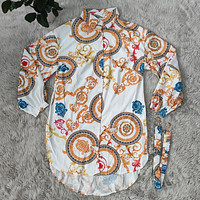 Versace new ladies' tops fashion casual printed shirt dress with belt