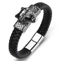 New Men Jewelry Punk Wolf Bracelets Black Weaving Wristband For Men Stainless Steel Genuine Leather Bracelet Retro Gift Pulseira