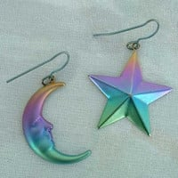 Star Moon Polychrome Dangle Earrings 1970s Vintage Jewelry