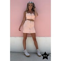 """Fabulous And Fun"" Zipper Front Fuzzy Two Piece Set (Light Pink)"