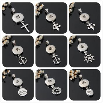 Hot sale XL5019-XL5027 Simple Lovely Cross Peace chain snap necklace 50cm fit 18mm snap buttons fashion snap jewelry