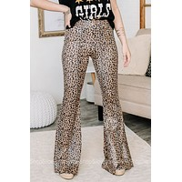 Get Recognized Pull On Flare Pants | Cheetah Print