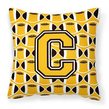 Letter C Football Black, Old Gold and White Fabric Decorative Pillow CJ1080-CPW1414