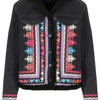 MOTO Embroidered Borg Jacket - Black