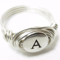 Monogram Initial Wire Ring, Sterling Silver