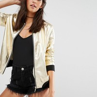 Missguided | Missguided Metallic Bomber Jacket at ASOS