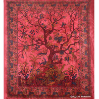 Red Tree Of Life Dorm Room Decor Hippie Tapestry Wall Hanging Decor Art