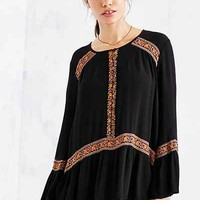 Ecote Namirah Patterned Bell-Sleeve Tunic Top - Urban Outfitters