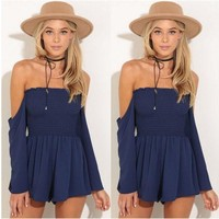Long Sleeve Off the Shoulder Pleated Romper Jumpsuit