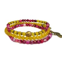 Joy and Grounding, Fine Faceted Pink Agate and Yellow Quartz Bracelet Set