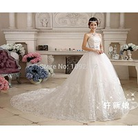 Plus size  bridal gown wedding dress long trailing train long vestidos de noiva chinese princess c11xxn