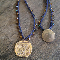 Athena's Owl Ancient Coin, Crochet Necklace