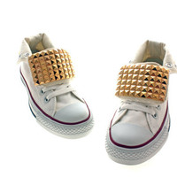 Studded Converse Gold Pyramid studs with converse white by CUSTOMDUO on ETSY