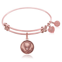 Expandable Bangle in Pink Tone Brass with U.S. Air Force Aim High Symbol