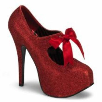5 3/4 Glitter Mary Jane Platforms Red Bow Women's Sexy High Heel Concealed Platform Shoes from BORDELLO - Best Buy Shop
