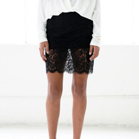 Lace Trimmed Short Pencil Skirt - The Snooki Shop