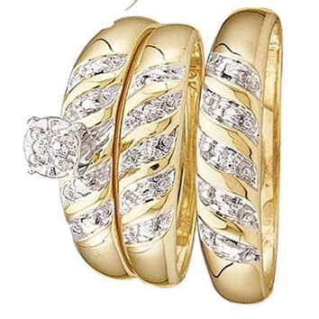 CERTIFIED 1/12 carats 10kt Yellow Gold Diamond Solitaire Bridal Wedding Ring Band Set