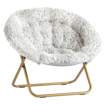 Gray Leopard Faux-Fur Hang-A-Round Chair