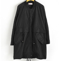 Black Drawstring Windbreaker