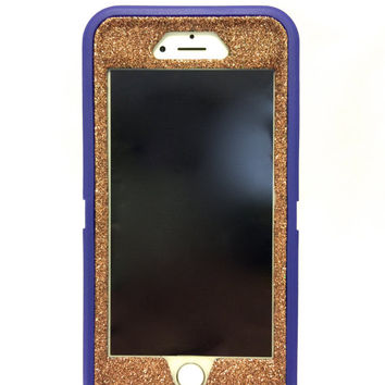 iPhone 6 (4.7 inch) OtterBox Defender Series Case Glitter Cute Sparkly Bling Defender Series Custom Case  purple / sunstone