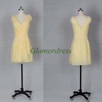 short v-neck chiffon folded bridesmaid dresses unique simple v back prom gowns hot discount dress for wedding party
