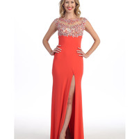 Coral Embellished High Slit Sexy Gown  2015 Prom Dresses