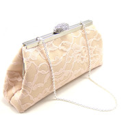 Champagne, Blush Pink and Ivory Bridal Clutch