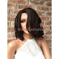 Tawnya Brown Messy Short Bob Human Hair Blend Front Lace Wig 10""
