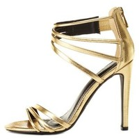 Snake-Textured Strappy High Heels by Charlotte Russe
