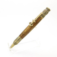 Handcrafted Antiques Brass Nautical Wood Pen featuring Bocote, exotic wooden pen, handmade twist pen, Naval Academy / Officer Gift