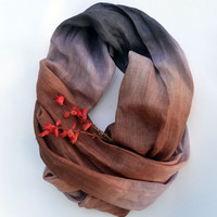 Oversized Scarf - Pure Brown Lavender Linen Shawl - Long Linen Scarf - Fashion Scarf - Fashion Accessories - Fall - Womens Scarf
