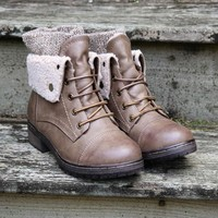 Stone Mountain Sweater Boot Brown Fleece Cuff Fold Over Ankle Bootie