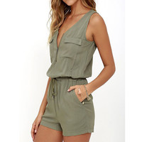 New Arrival 2017 Summer Beach Rompers Womens Jumpsuit Front Zipper Sleeveless Sexy Bodysuit Slim Fit
