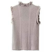 Stylish Stand-Up Collar Sleeveless Solid Color Women'S Knitwear LAVELIQ