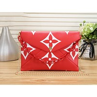 LV Louis Vuitton Fashion Women Shopping Metal Chain Shoulder Bag Crossbody Satchel Red