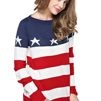 TopStyliShop Women's Stars and Stripes Pattern Round Neck Fashion Sweater D1126