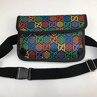 GUCCI Fashionable and versatile printed small bag Fanny pack breast bag lady