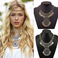 2017 New Arrivals Bohemian Vintage Maxi Necklace Collier Femme Women Fashion Tassel Coin Statement Necklace Ethnic jewelry