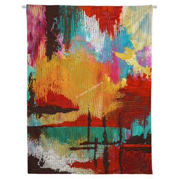 Fire in the Sky Hanging Wall Tapestry. Dorm Decor, Abstract Painting, Modern Art Large Wall, Apartment Decor, Paint Splatter, Headboard Art